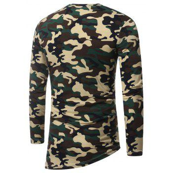 Men's Fashion Camouflage Long Sleeve Hip-Hop Style Plus Size T-Shirt - ARMY GREEN XL