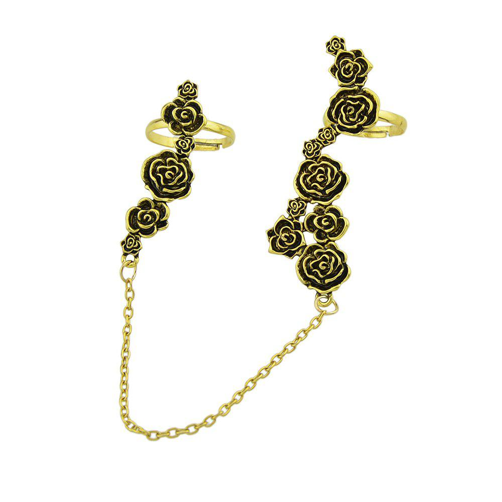Rose Flower Double Finger Ring - GOLD RESIZABLE