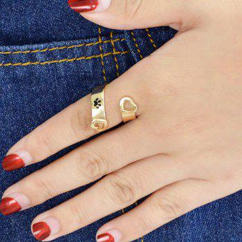 Black Paw and Letter Geometric Finger Ring - GOLD ONE-SIZE