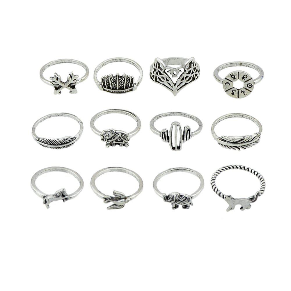 12 Pcs Arrow Crown Cactus Leaf Birds Animal Knuckle Ring - SILVER RING SET