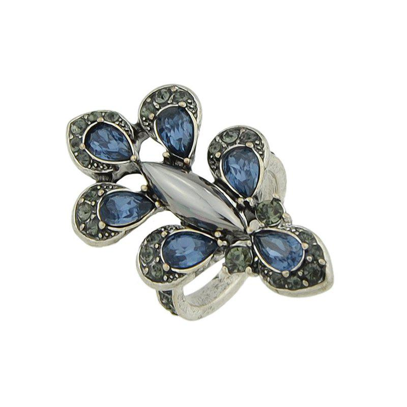 Silver Color Flower Blue Rhinestone Rings - SILVER ONE-SIZE