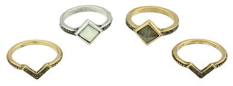 4 Pcs Antique Gold Silver Color with Stone Rings - GOLD RING SET