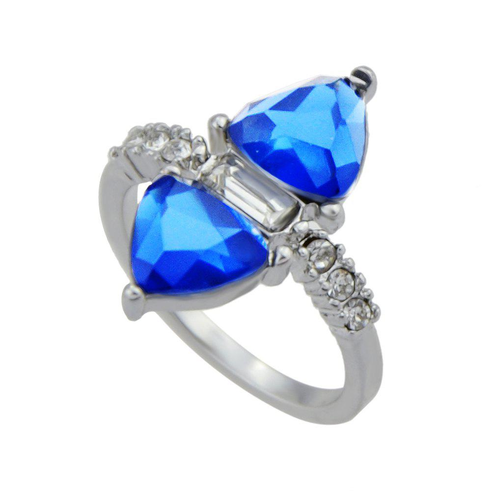 Silver Color with Blue Crystal Rhinestone Ring - SILVER ONE-SIZE