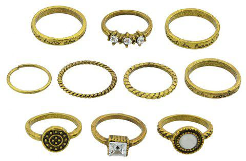 10 Pcs Antique Gold Silver Color with Rhinestone Stone Rings - GOLD RING SET