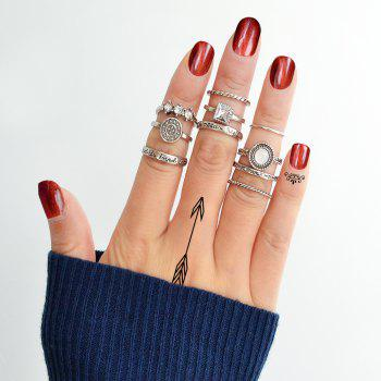 10 Pcs Antique Gold Silver Color with Rhinestone Stone Rings - SILVER RING SET