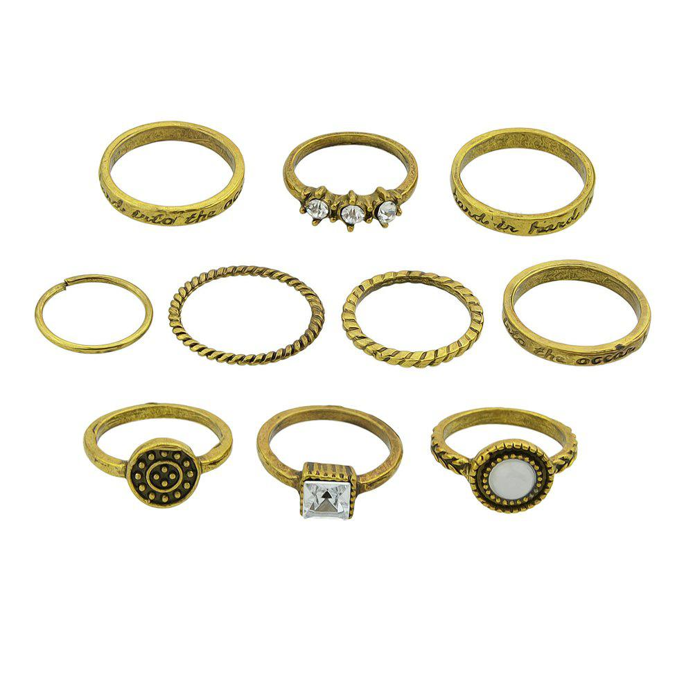 10 Pcs Antique Gold Silver Color with Rhinestone Stone Rings lson round ndfeb magnets silver 10 pcs