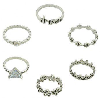 6 Pcs Rhinestone Dream Letter Flower Triangle Rings - SILVER RING SET