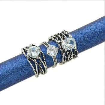 3 Pcs Antique Silver Color with Rhinestone Rings - SILVER RING SET