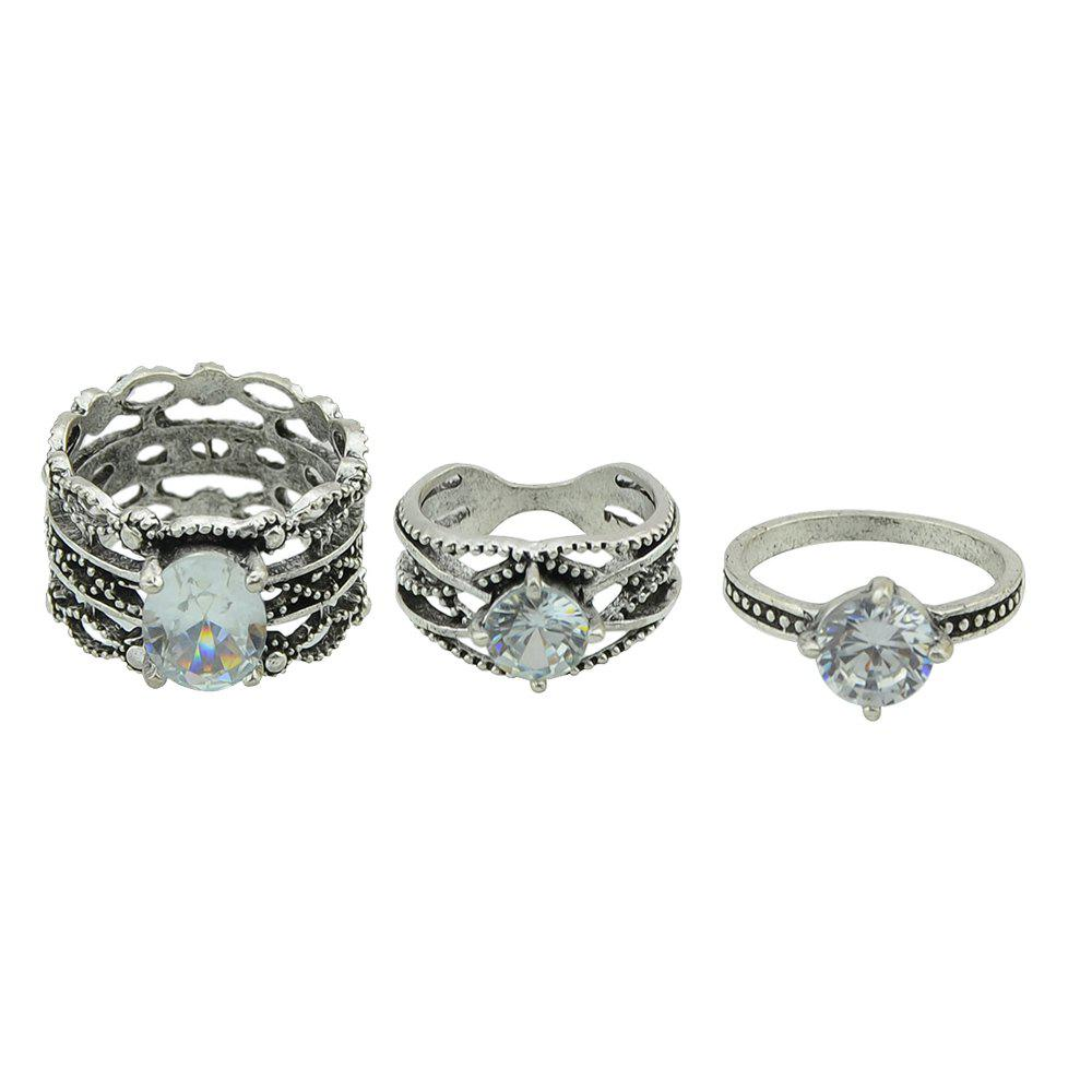 3 Pcs Antique Silver Color with Rhinestone Rings diamond grinding head set silver 50 pcs