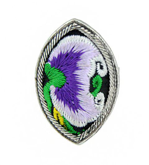 Handmade Flower Pattern Colorful Embroidery Geometric Rings - multicolor B RESIZABLE