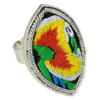Handmade Flower Pattern Colorful Embroidery Geometric Rings - multicolor D RESIZABLE