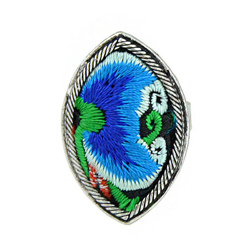 Handmade Flower Pattern Colorful Embroidery Geometric Rings - multicolor A RESIZABLE