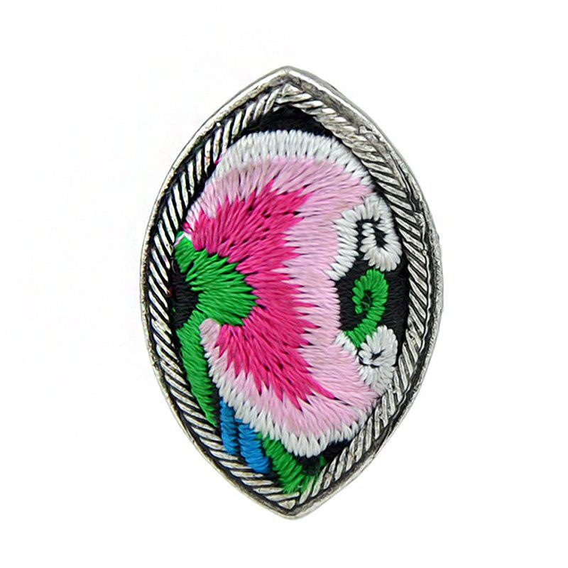 Handmade Flower Pattern Colorful Embroidery Geometric Rings - multicolor C RESIZABLE