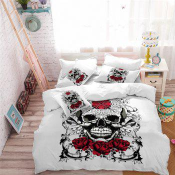 AS113-A Ornament Skeleton Personality Decorative Pattern Bedding Set - WHITE QUEEN