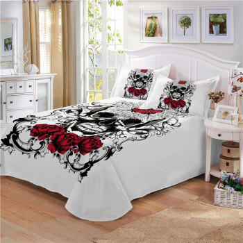 AS113-A Ornament Skeleton Personality Decorative Pattern Bedding Set - WHITE DOUBLE