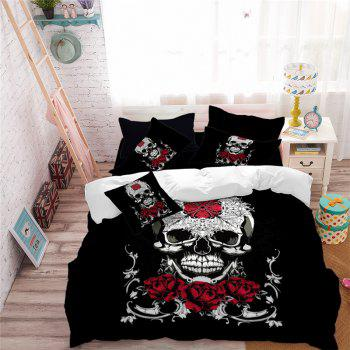 AS113-B Ornament Skeleton Personality Decorative Pattern Bedding Set - BLACK DOUBLE