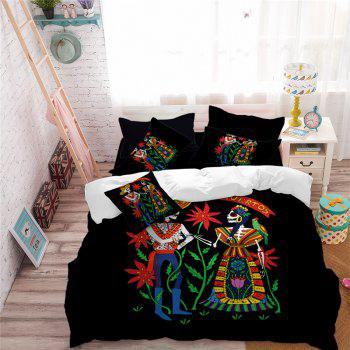 AS114-B Indian Style Men's and Women's Skeleton Pattern Personality Bedding Set - BLACK FULL