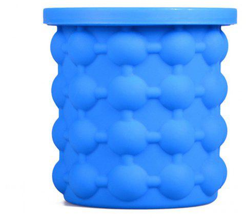 Ice Cube Maker Silicone Bucket Tray Can for Chilling Beer Whiskey - BLUE
