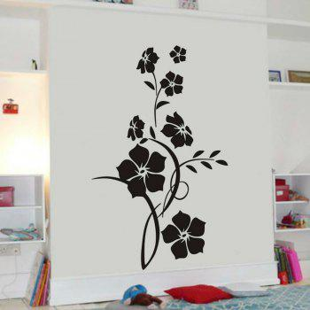Flower  Wall Sticker Tree Art Decal Mural for Living Room Bedroom Home Decor - BLACK