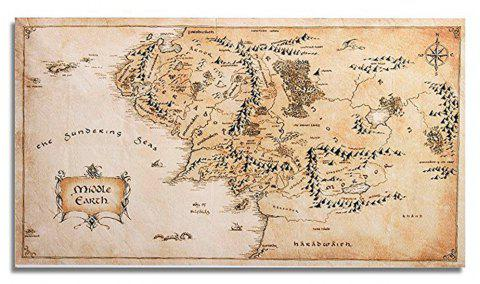 Silk Fabric Home Decor Middle-Earth World Map  Wall Sticker - CAMEL BROWN