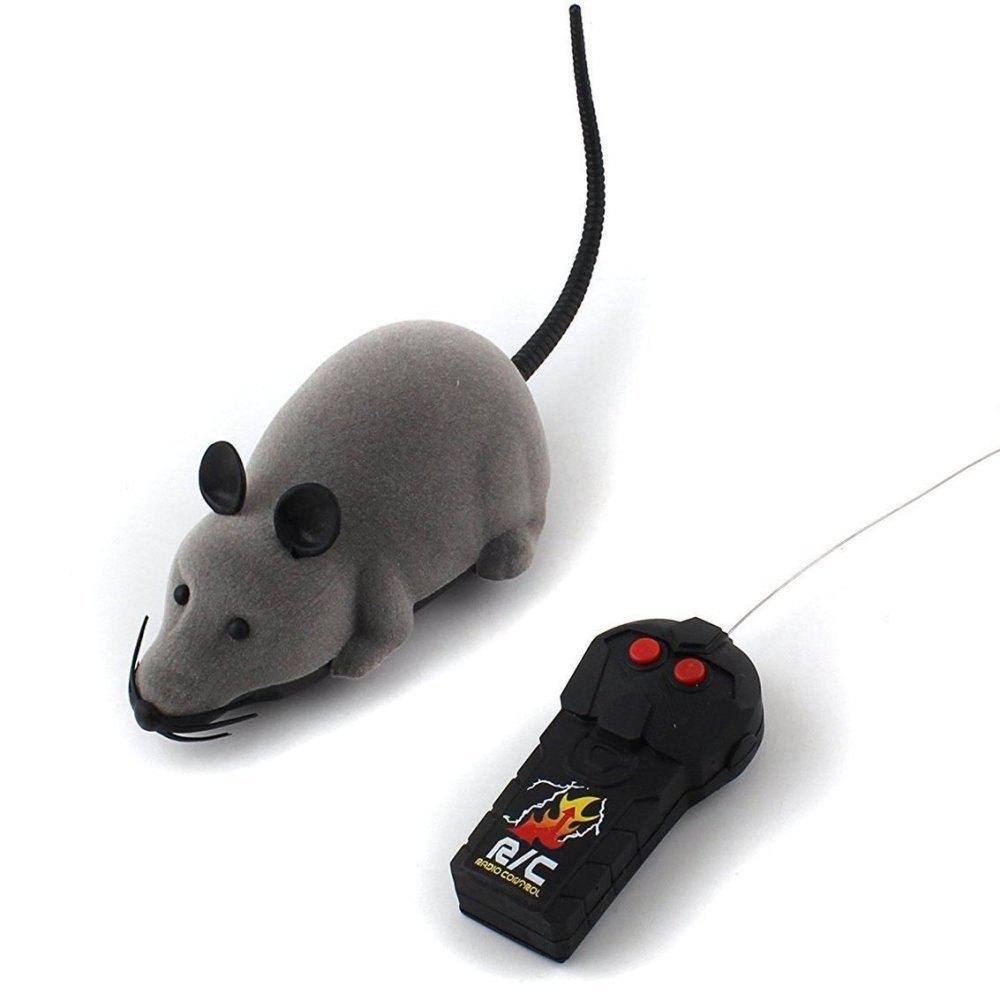 Funny Wireless Electronic Remote Control Mouse Rat Toy for Cats Dogs Pets - GRAY