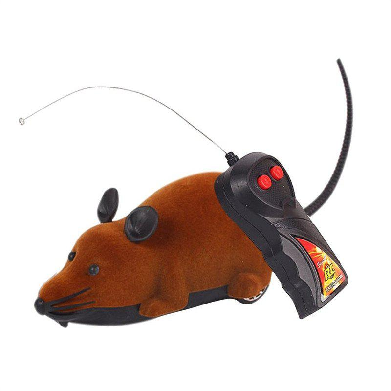 Funny Wireless Electronic Remote Control Mouse Rat Toy for Cats Dogs Pets - BROWN
