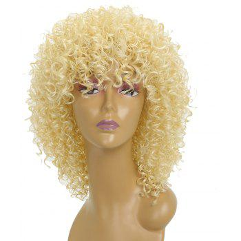 Women Silver Gray Afro Curly Style Short Hair Synthetic Wig for Party 5 Colors - BLONDE
