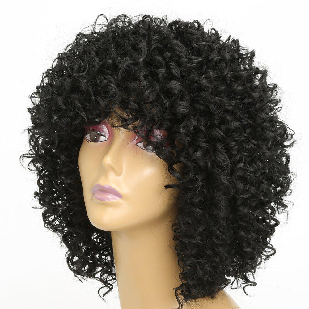 Women Silver Gray Afro Curly Style Short Hair Synthetic Wig for Party 5 Colors - BLACK