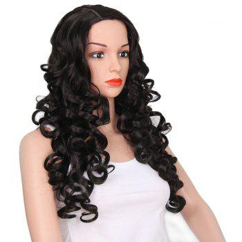 African American Women Black Curly Long Synthetic Hair Party Wig Side Parting - BLACK 26INCH