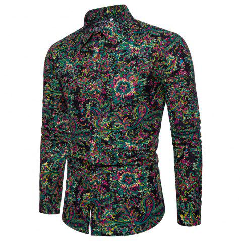Men's  Print Slim Fashion Party Collar Floral Long Sleeve T-shirt - multicolor A XL