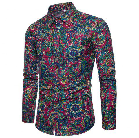 Men's  Print Slim Fashion Party Collar Floral Long Sleeve T-shirt - multicolor B 2XL