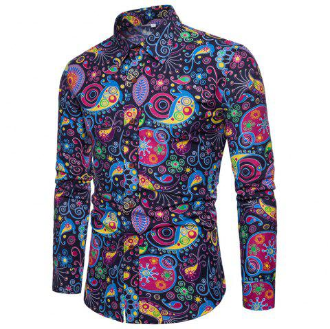 Men's  Print Slim Fashion Party Collar Floral Long Sleeve T-shirt - multicolor S 5XL