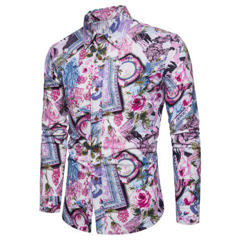 Men's  Print Slim Fashion Party Collar Floral Long Sleeve T-shirt - multicolor V L