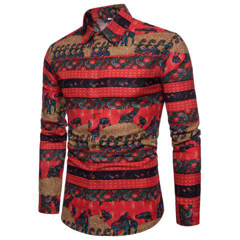 Men's  Print Slim Fashion Party Collar Floral Long Sleeve T-shirt - multicolor W 5XL