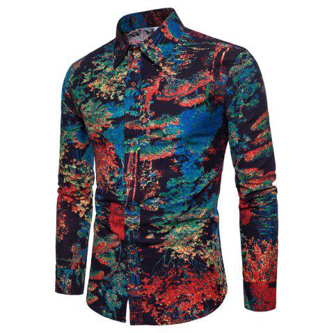 Men's  Print Slim Fashion Party Collar Floral Long Sleeve T-shirt - multicolor H 2XL