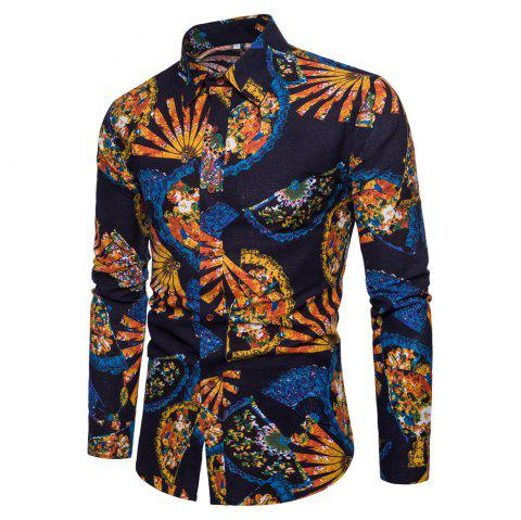 Men's  Print Slim Fashion Party Collar Floral Long Sleeve T-shirt - multicolor K L