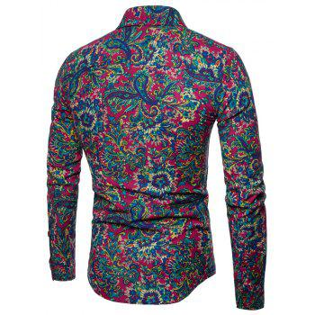Men's  Print Slim Fashion Party Collar Floral Long Sleeve T-shirt - multicolor B 5XL