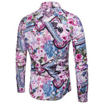 Men's  Print Slim Fashion Party Collar Floral Long Sleeve T-shirt - multicolor V XL