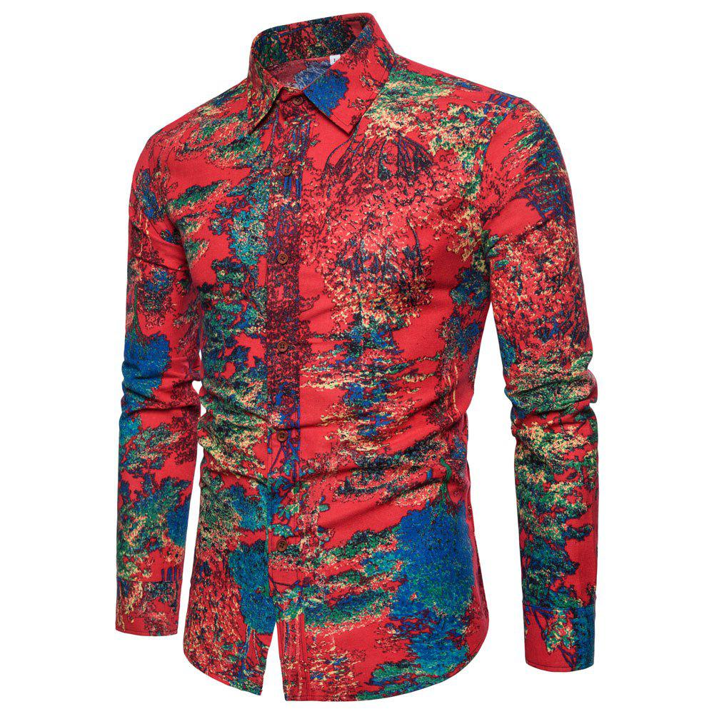 Men's  Print Slim Fashion Party Collar Floral Long Sleeve T-shirt - multicolor G M