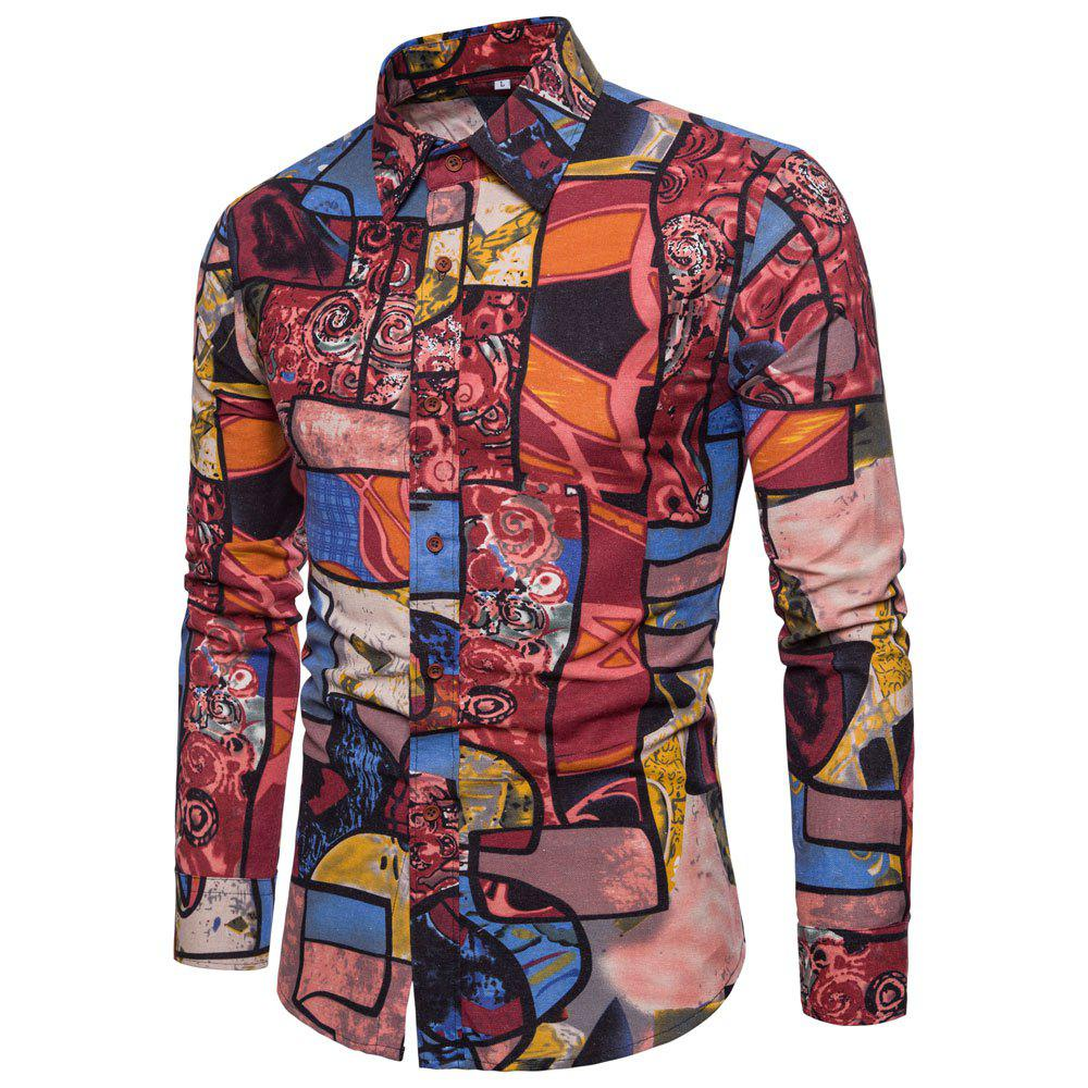 Men's  Print Slim Fashion Party Collar Floral Long Sleeve T-shirt - multicolor L M