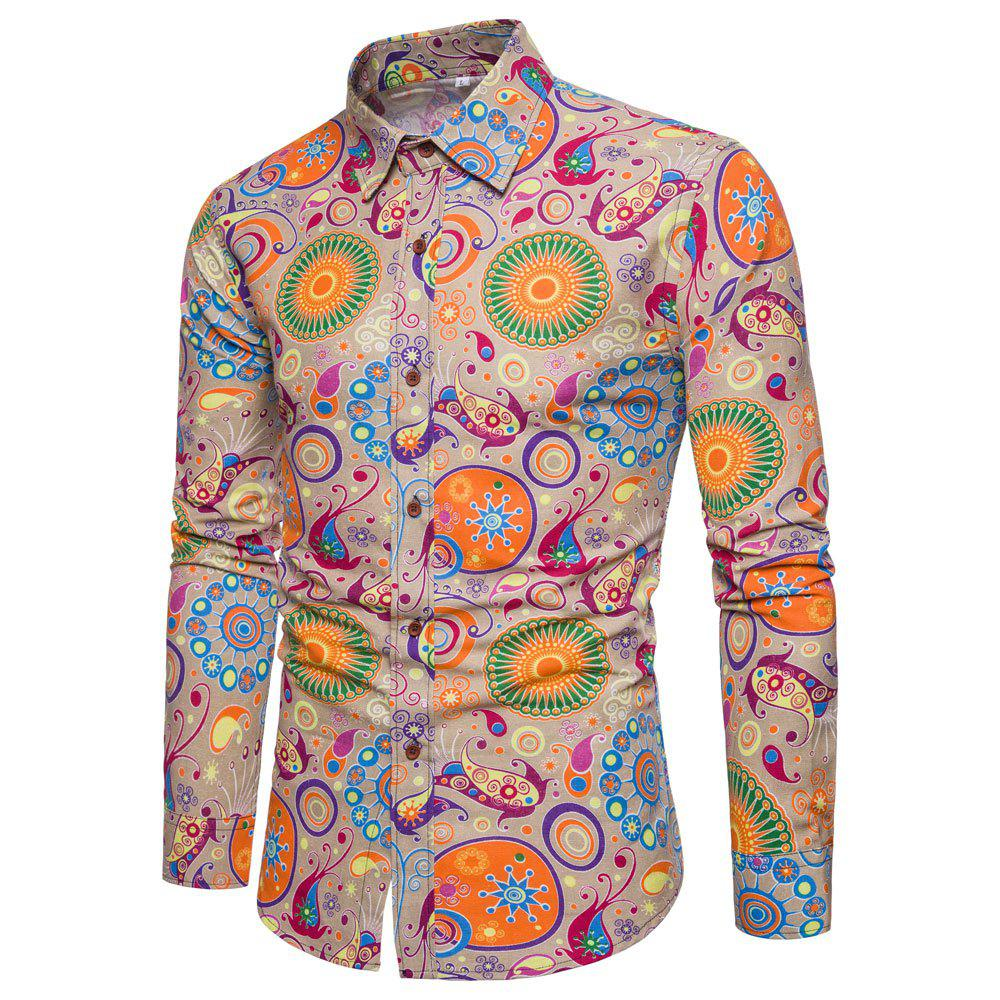 Men's  Print Slim Fashion Party Collar Floral Long Sleeve T-shirt - multicolor R 2XL