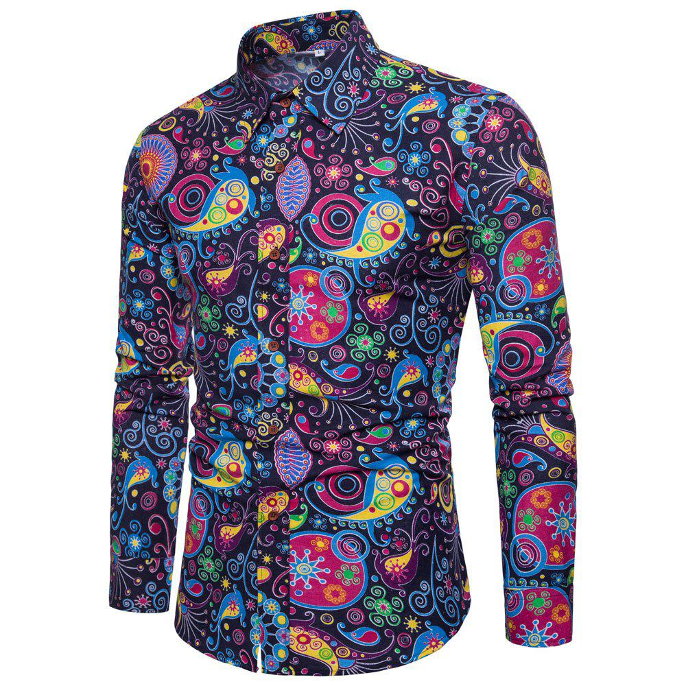 Men's  Print Slim Fashion Party Collar Floral Long Sleeve T-shirt - multicolor S 2XL