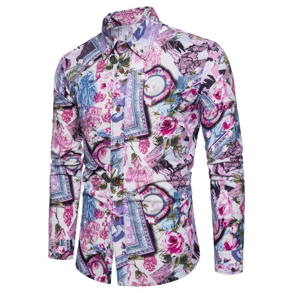 Men's  Print Slim Fashion Party Collar Floral Long Sleeve T-shirt - multicolor V 5XL