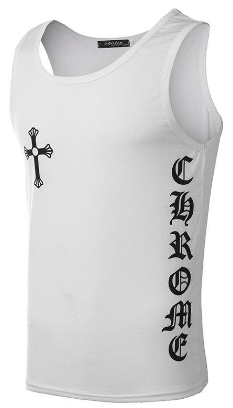 Pirated Cotton Men's Vests - WHITE XL