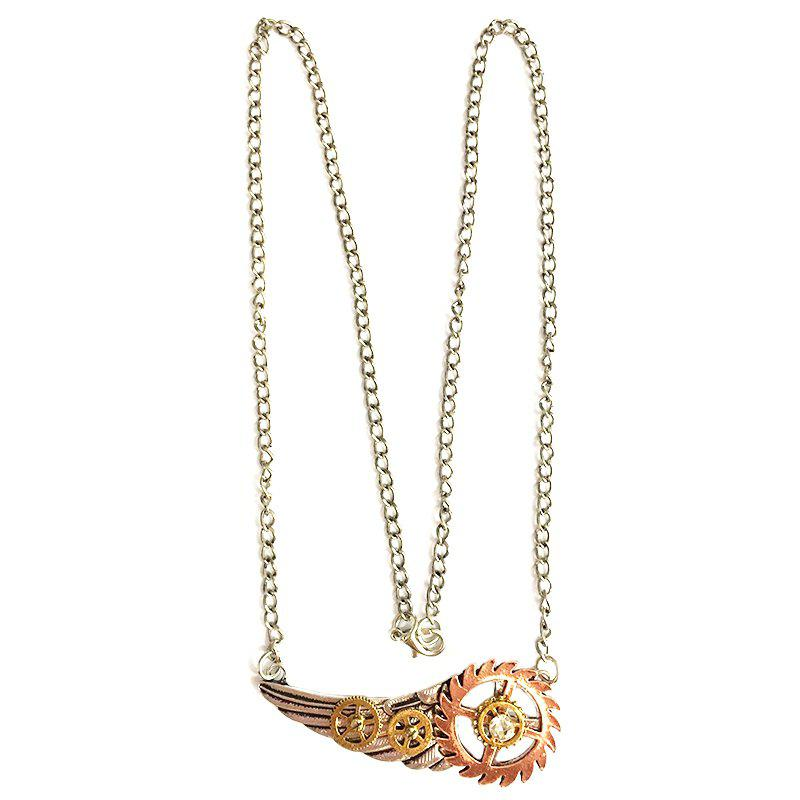 New European and American Steampunk Wings Gear Pendant Necklace цена