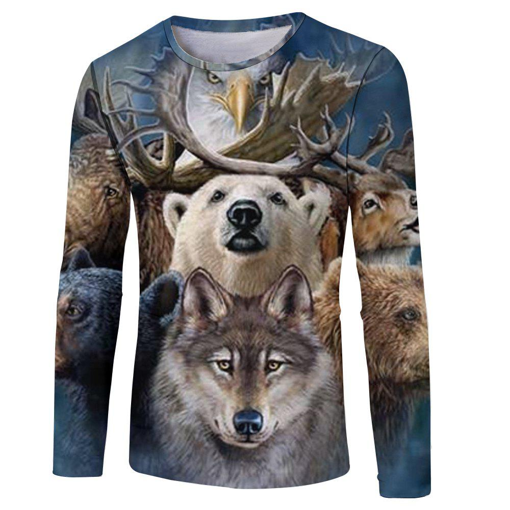 Spring and Autumn Fashion New Dog Head 3D Printed Men's Long Sleeve T-shirt new hot sale 2016 korean style boy autumn and spring baby boy short sleeve t shirt children fashion tees t shirt ages