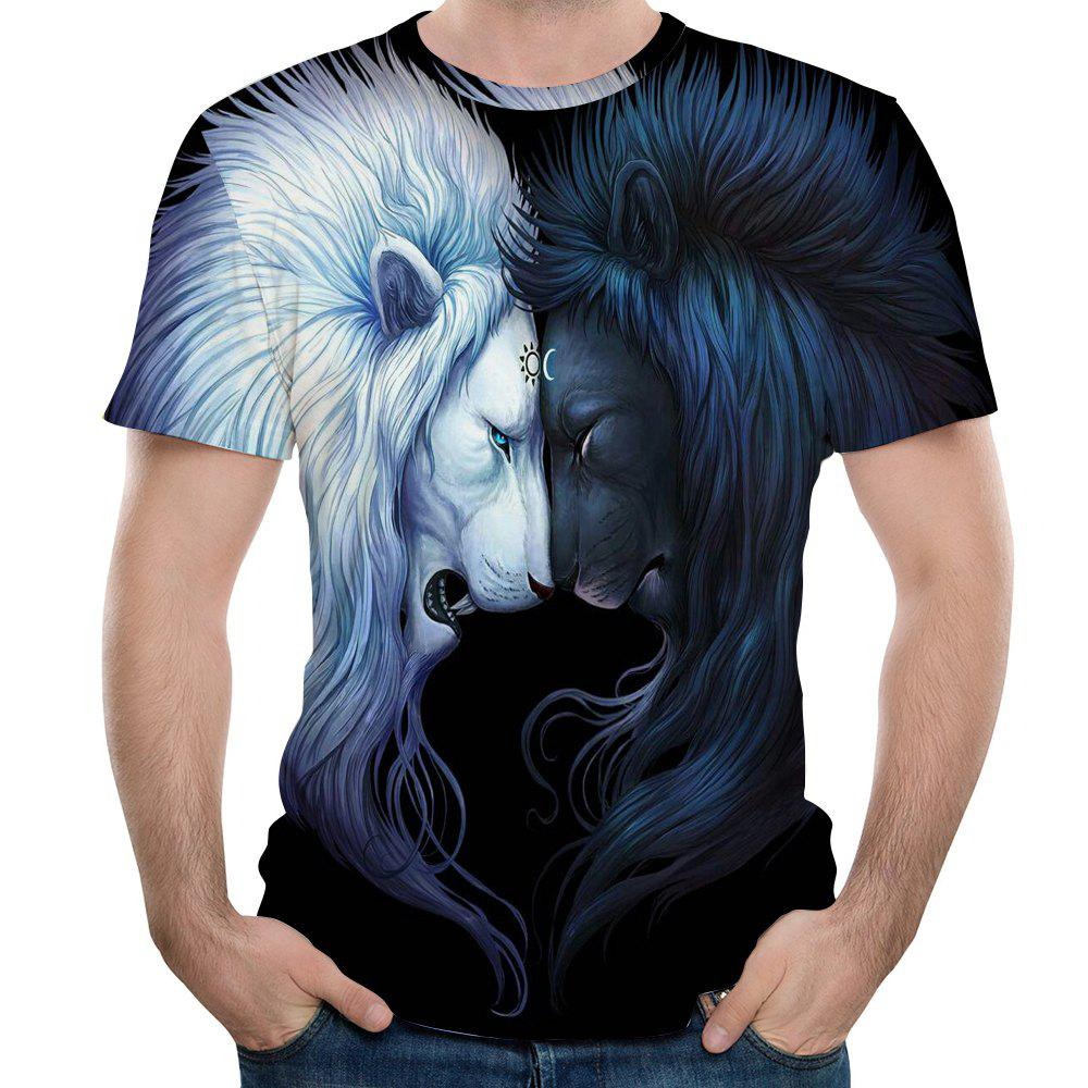 2018 Summer New  Lion Head 3D Printing Men's Short-Sleeved T-shirt - NATURAL BLACK XL