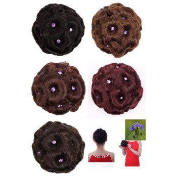 TODO 12cm Flowers Bud Insert Comb Band Clip In Bun Updo Cover Hair Extensions - BLACK
