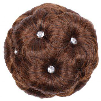 TODO 12cm Flowers Bud Insert Comb Band Clip In Bun Updo Cover Hair Extensions - LIGHT BROWN