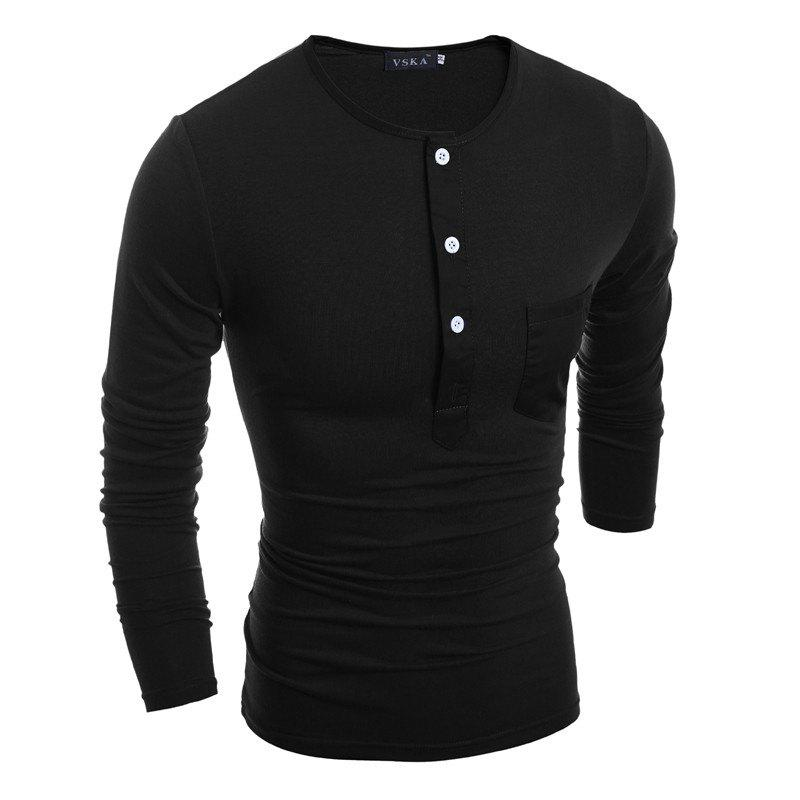 Button Round Neck Long Sleeve T-shirt black srirpe round neck long sleeve t shirt